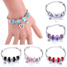 Love Tree of Life Crown shape Bracelet Jewelry 6 Colors Silver Lobster Buckle Snake Chain Bangles Beaded Bracelet Fit Jewelry(China)