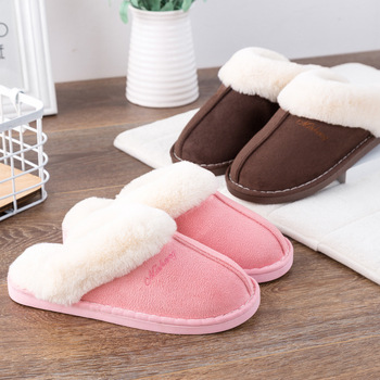Women House Slippers Winter Warm Shoes Women Slip-on Suede Fur Plush House Slipper Indoor Bedroom Couples Memory Foam Home Shoes 3