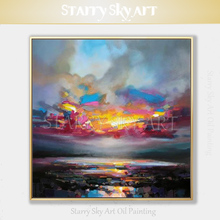 Beautiful Wall Art Hand-painted Modern Abstract Landscape Sky Oil Painting on Canvas Colorful Fine