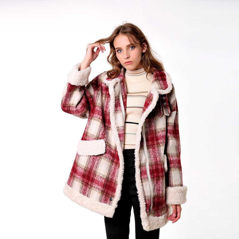 CMAZ 2019 autumn winter red plaid woolen coat new fashion causal women turndown collar thick coat MX18D6457