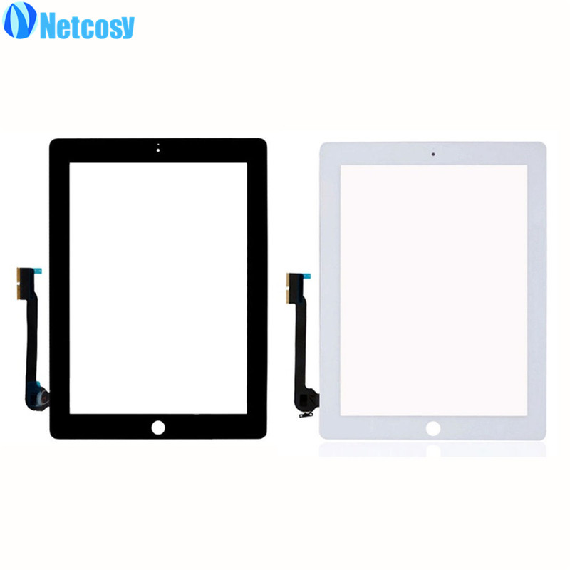 Free Shipping Black White Replacement Touch Screen Front Glass Lens Display Digitizer For IPad 4 4th