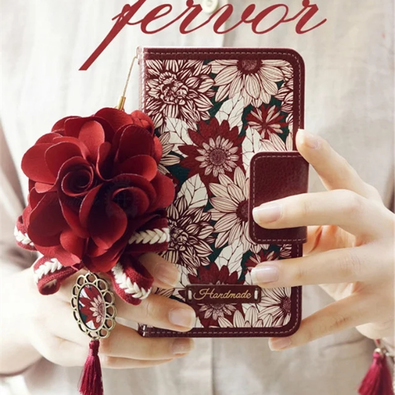 Red Sun Flower Flip Carteira Bolsa Capa De Couro Para iPhone 11 Pro XS Max XR X 8 7 6 Plus Samsung Galaxy Note 10 9 8 S10 / 9/8 Plus