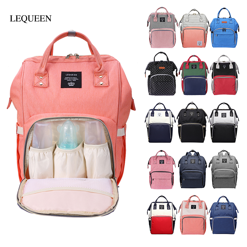 LEQUEEN Maternity Nappy Bag Backpack Fashion Diaper Bag Large Capacity Mummy Bag Nappy Backpack Waterproof Travel Nursing Bag