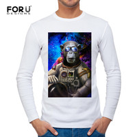 FORUDESIGNS 2017 Autumn Man Clothing Long Sleeve Patchwork Newest Male Young Guys Monkey Picture Real Trend