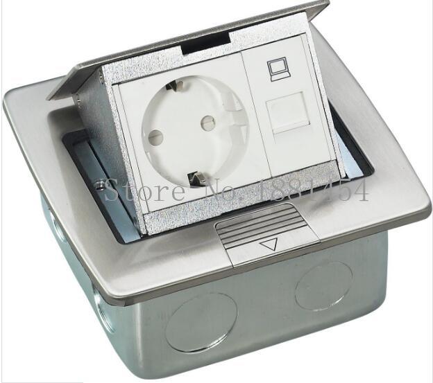 Pop up En Acier Inoxydable Boîtes De Sol/Douilles De Plancher avec RJ45/RJ11, Argent/Or, EU/UK/USA/UA puissance Livraison Gratuite