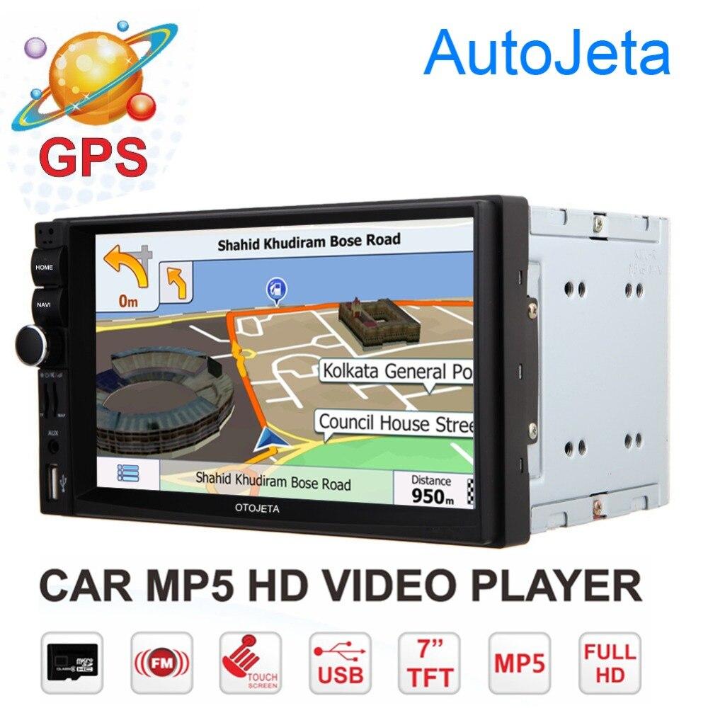 otojeta 2DIN с 7 автомобильных навигационных GPS Авторадио Видео Аудио для универсальный MP4 mp5-плеер с разрешением 1080p Bluetooth с FM/USB и AUX головное устройство магнитола