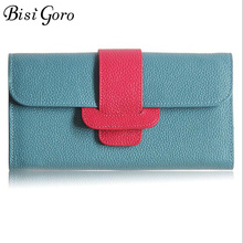 Bisi Goro Cowhide Leather Wallet Women Long Slim Lady Magnetic buckle Patchwork Clutch Card Holder Pocket Wallet Female Purse