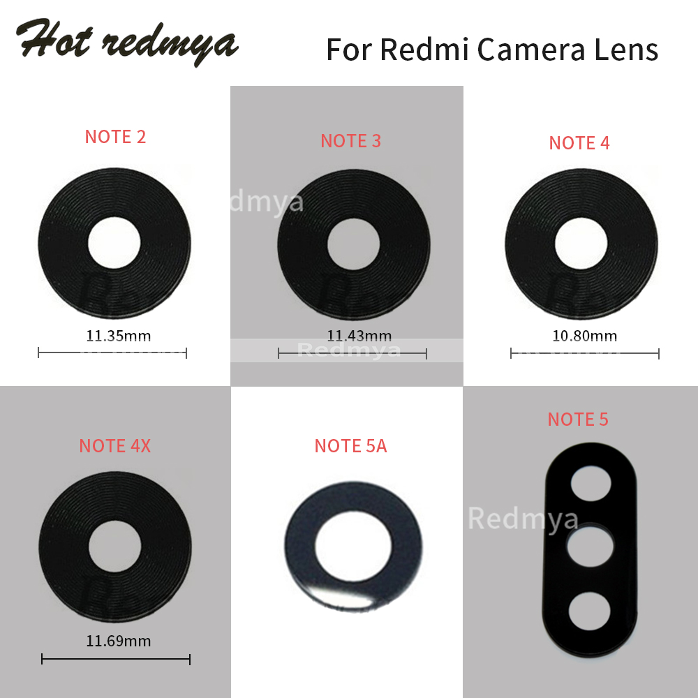 Rear Back Camera Glass Lens For Xiaomi Redmi Note 2 3 4 5 Cover 4X 5A With Sticker Repair Spare Parts