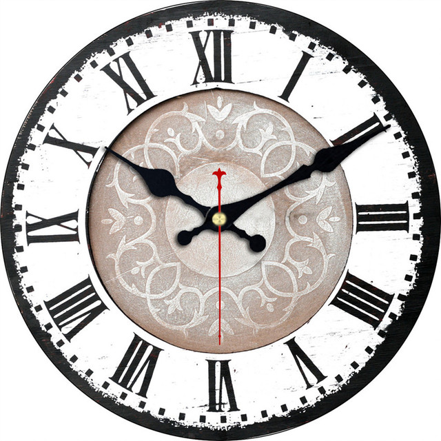 Roman Numerals Decorative Wall Clock Antique Design Silent Living Room Wall Decor Saat Home Decoration Watch Wall Christmas Gift