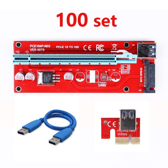 100pcs New Red VER007S PCI Express Riser Card 1x to 16x PCI-E extender 60cm USB 3.0 Cable 15Pin SATA Power for BTC Miner DHL