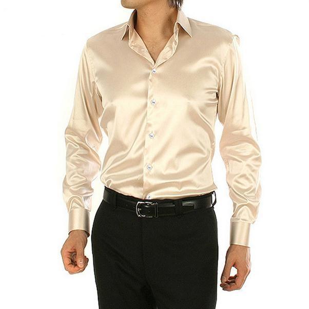 2017 hot high quality pure men shirt silk shirt satin mens for Long sleeve silk shirt dress