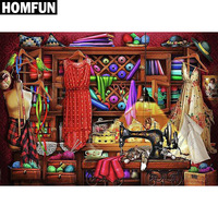 "HOMFUN Full Square/Round Drill 5D DIY Diamond Painting ""Sewing machine"" Embroidery Cross Stitch 5D Home Decor Gift"