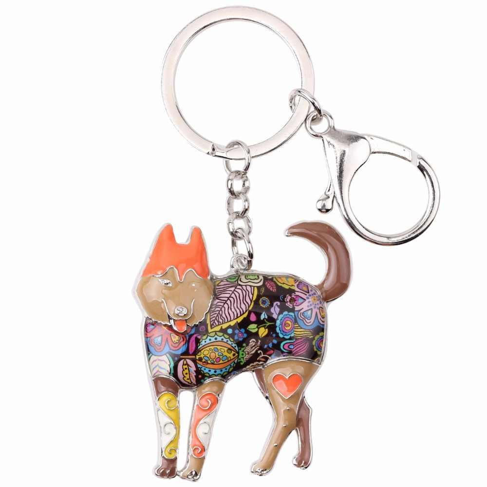 Bonsny Enamel โลหะ Siberian Husky Dog Key Chain พวงกุญแจแหวนกระเป๋าจี้รถผู้ถือเครื่องประดับสำหรับผู้หญิงของขวัญ charm
