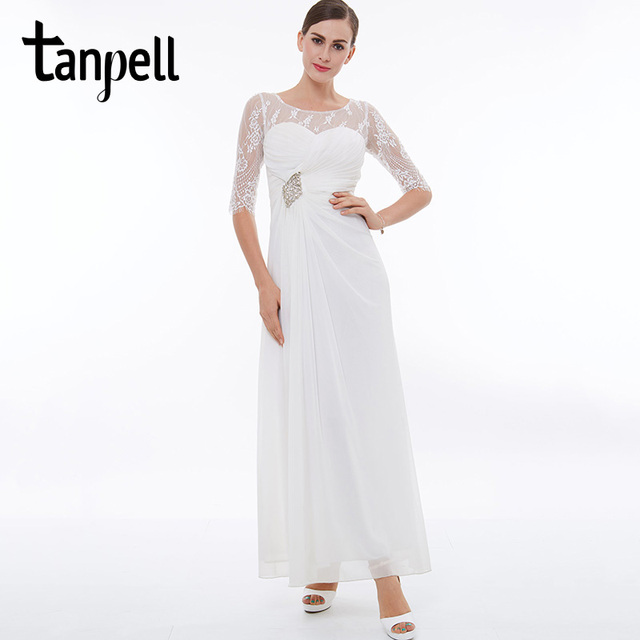 Tanpell long prom dress white scoop half sleeves ankle length a line ...