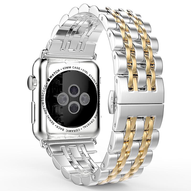 Prix pour Acier inoxydable bracelets bracelet pour iwatch apple watch bande lien accessoires 38mm 42mm bracelet en métal avec adaptateur accessoires