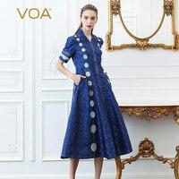 VOA тяжелый шелк синий в горошек вечерние платье для женщин; Большие размеры платья Винтаж тонкий летний хит Цвет короткий рукав косые карман
