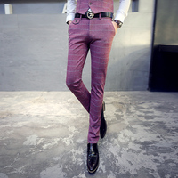 Luxury Brand Casual Plaid Men Pants Korean Slim Fit Trousers Male Wedding Dress Red Skinny Business