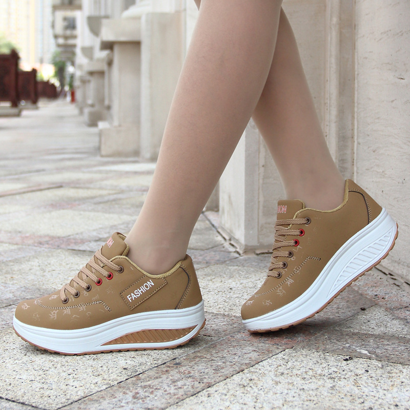 Sport Shoes Woman 2019 Fashion Solid Sneakers Women Running Shoes Breathable PU Wedges Lace-up Shoes Women Sneakers Plus Size