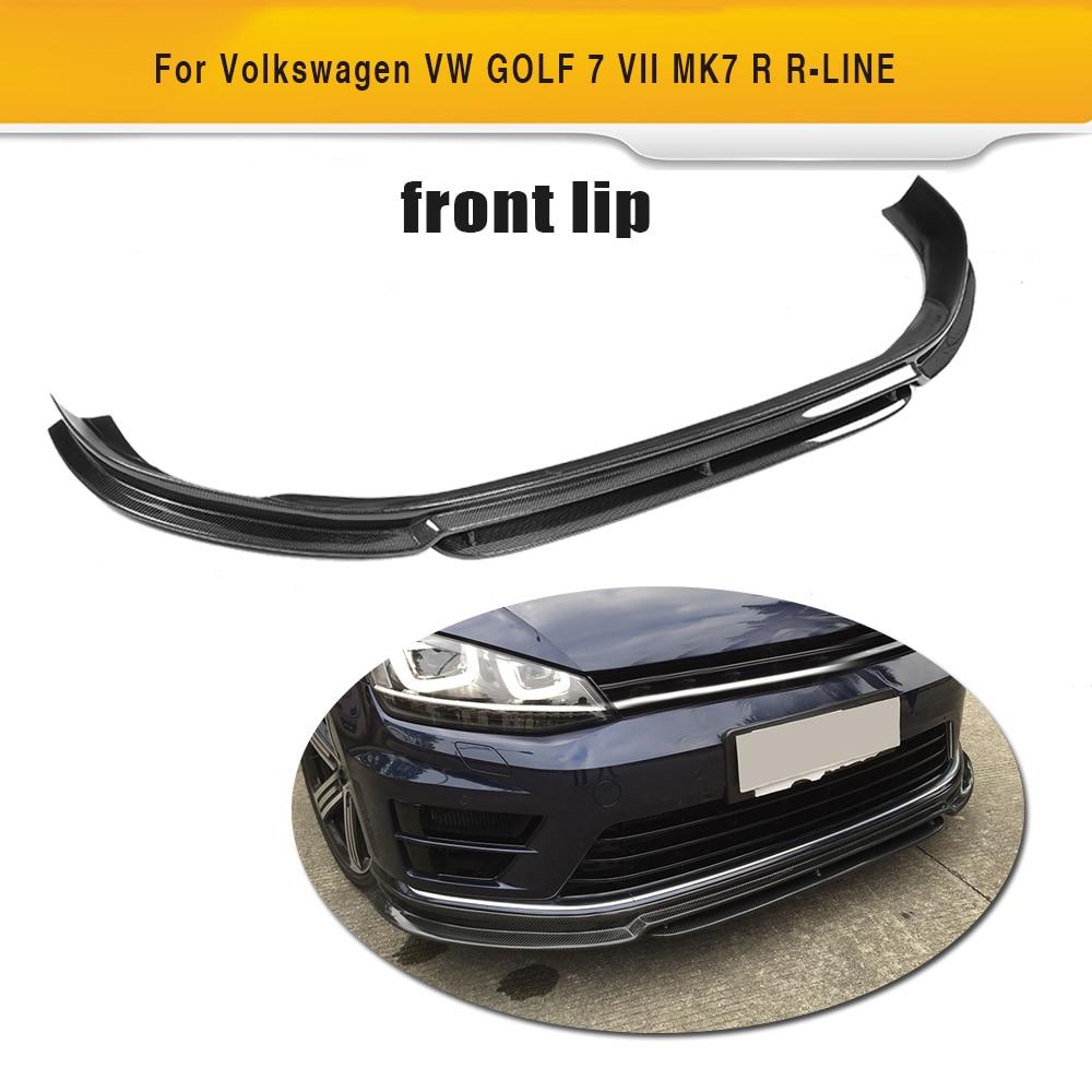 Carbon Fiber Car Front Bumper Lip Spoiler Diffuser For Volkswagen VW Golf VII 7 R R-LINE Hatchback 14-16 Non Standard GTI