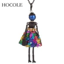 2017 brand New Doll baby Handmade Necklace Cute Long black Chain Dress Rhinestone necklace Women Girl Kids Christmas gift