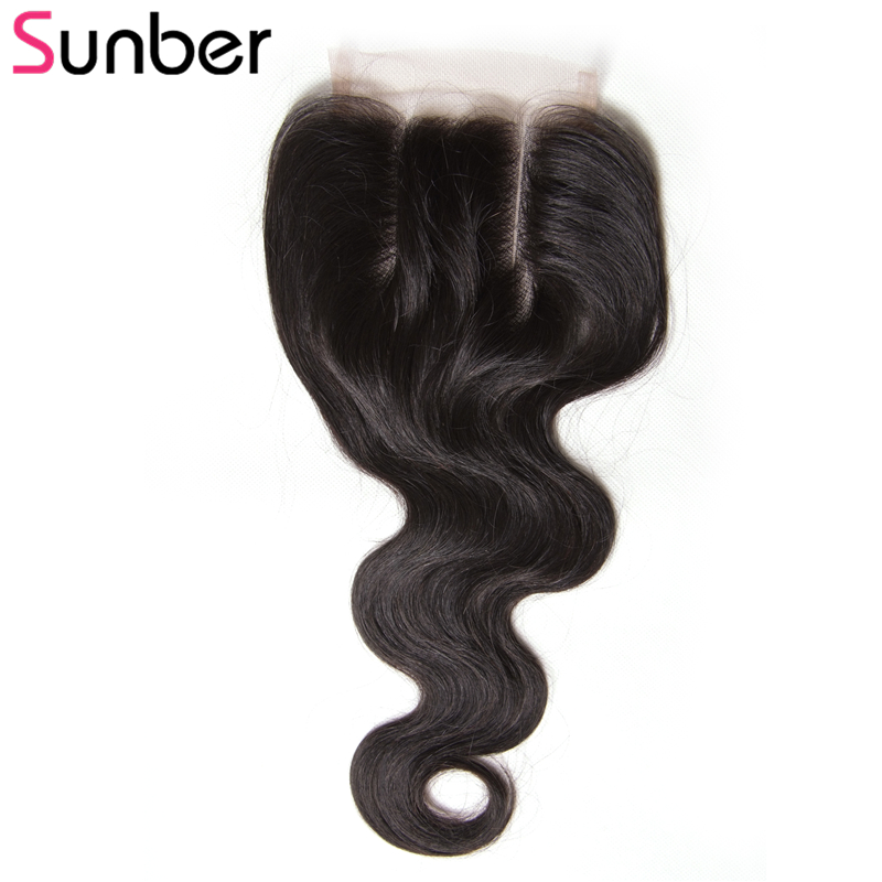 Sunber Hair Peruvian Body Wave Lace Closure Remy Hair Free Middle Three Part 4x4 Top Closure