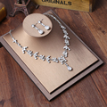 Wedding Jewelry Set Bridal Necklace Flower Stud Earring Crystal Choker Statement Necklace Bridesmaid Sets