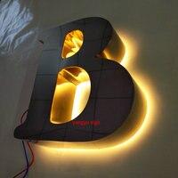 Открытый 3D польский из нержавеющей стали со светодиодной подсветкой светящиеся вывески