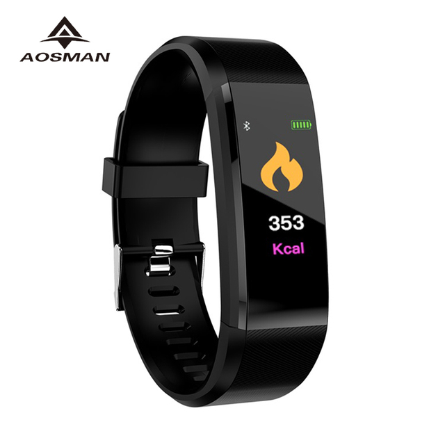 New Color Screen Smart Bracelet Watch 115 Plus Blood Pressure Monitoring Heart Rate Wristband
