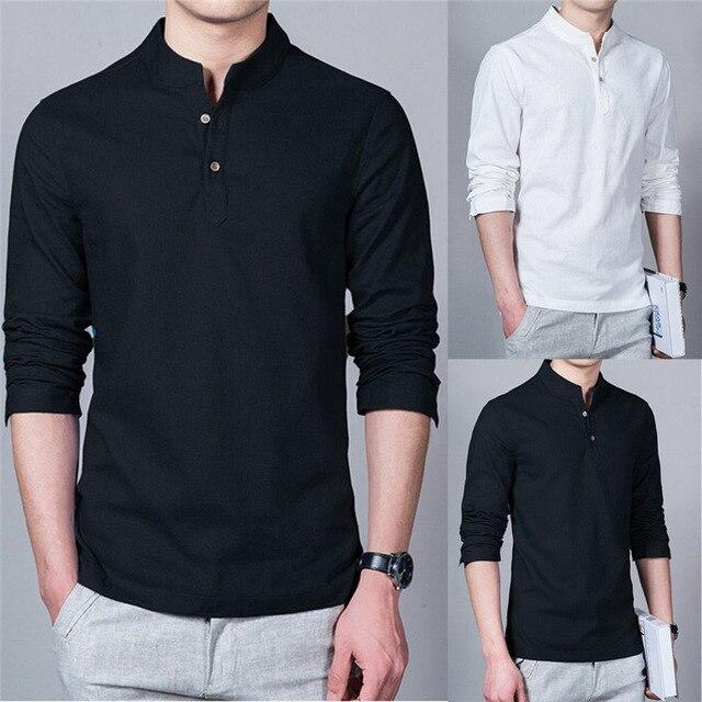 680ae53408 2017 Nova Moda Manga Comprida Mandarin Collar Camisas Dos Homens Masculinos  Camisa de Linho Casual Homens. Passe o mouse em cima para dar zoom