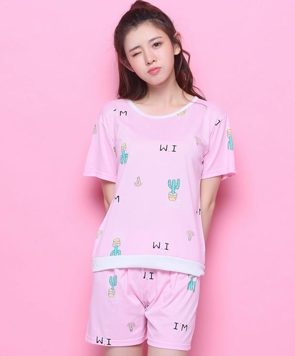 Summer Cute Print Cactus Pajama Sets 3 Pieces Set Short Sleeve Top + Shorts Elastic Waist +Blinder Loose pyjamas feminino S85102