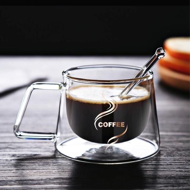 Heat Insulation Glass Coffee Mug, Double Wall Glass Coffee Tea Cups Drinkware Milk, 6.8oz/200ml Espresso Coffee Milk Latte Cup 1