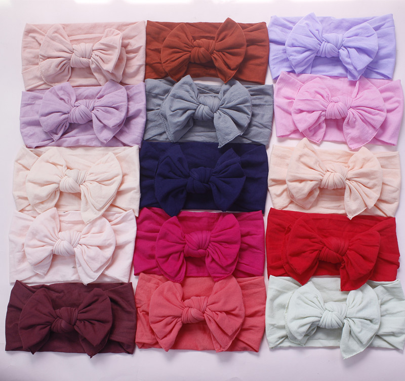 Bulk 120pc/lot 27 Color Pick 2019 New Knot Hair Bow Wide Nylon Headbands Newborn Knotbow Nylon Turban Headwraps Girls Headwear