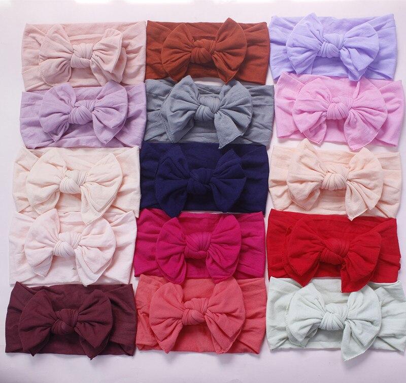 MengNa 27 color Pick 2019 New Knot Hair Bow Wide Nylon Headbands Newborn Knotbow Nylon Turban Headwraps Girls Headwear 30pc/lot