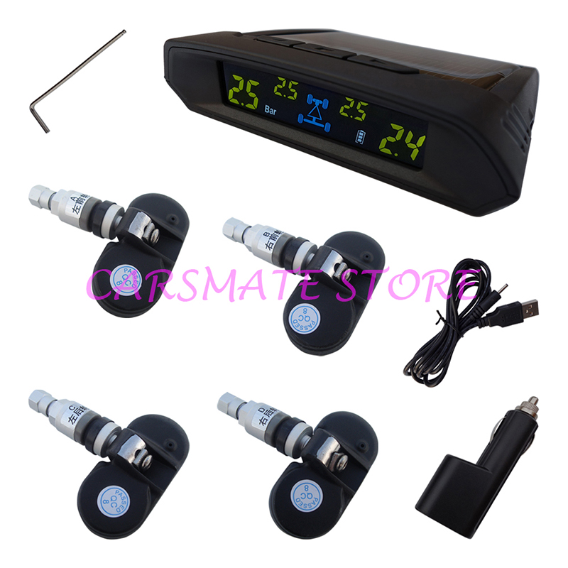 solar power supply wireless car tpms tire pressure monitoring system with 4 internal sensors psi. Black Bedroom Furniture Sets. Home Design Ideas