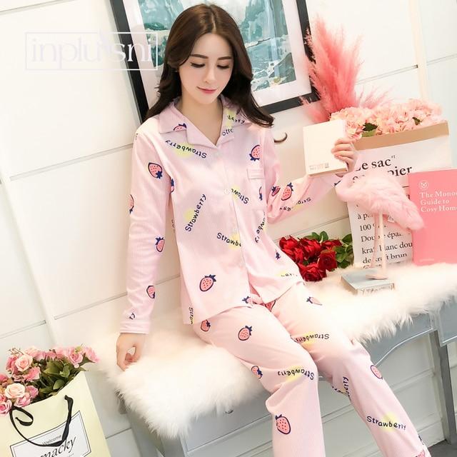 4718fb622c Inplusni women pajama sets Autumn Winter sweet strawberry pineapple pajamas  cute homewear aesthetic suit girl lovely pajama sets