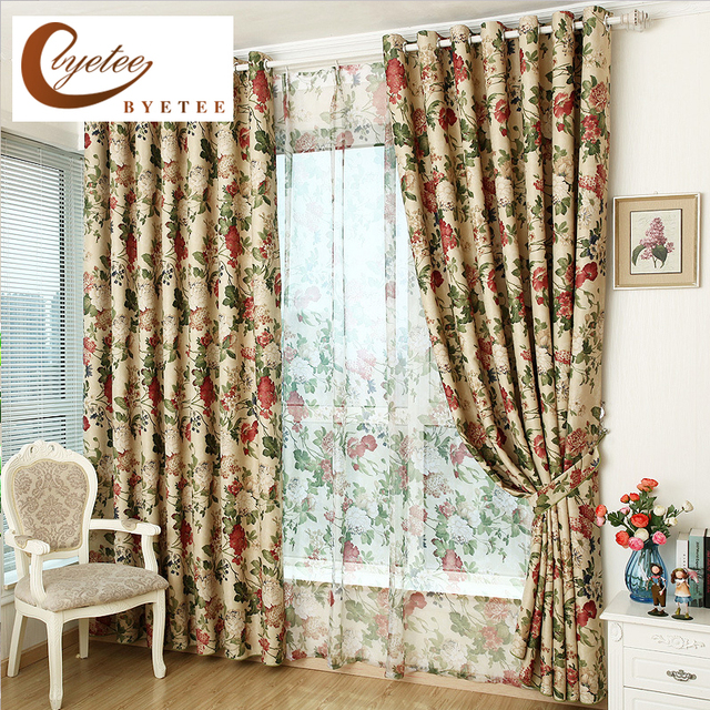 Superbe [byetee] Shaded Kitchen Curtains Doors For Pastoral Living Room Bedroom  Custom Window Curtain Fabrics Luxury Blackout Drapes