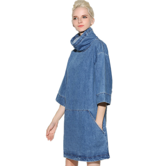 European New Fashion Style Women Dress 2016 Fall Winter Las Denim Dresses Personality Stand Collar S