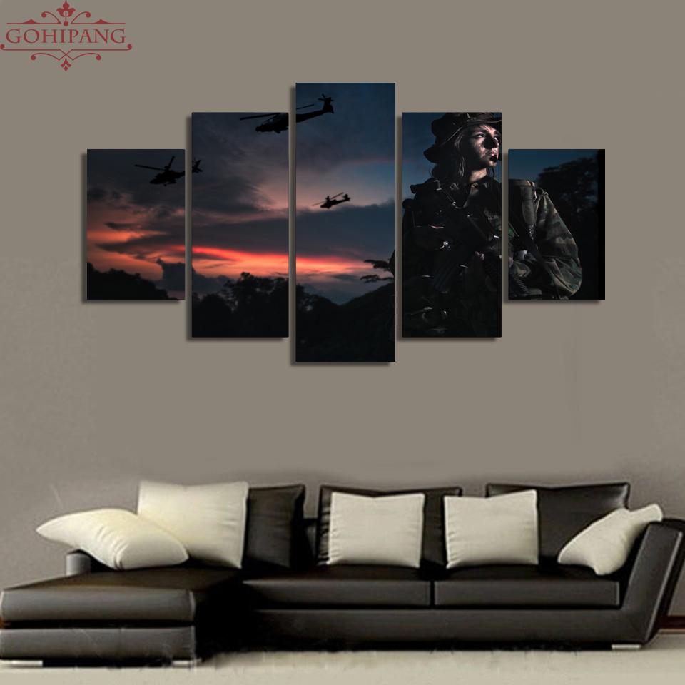Canvas Wall Art Pictures Home Decor Living Room Frame 5 Pieces Soldiers Field Camouflage Female Soldier Painting HD Print Poster