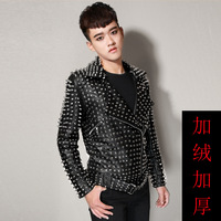 Bar nightclub male singer DJ dancer new zipper rivet leather collar motorcycle leather jacket stage performance costumes