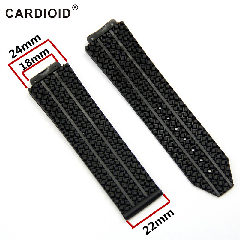 24mm Silicone Edition Fashion WatchBand For HUBLOT Big Bang Series Skidproof Band Soft Watch Strap For HUBLOT Wrist Bracelet