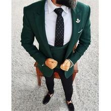 Boda para hombres 2018 elegante 3 piezas boda Vestido de lana verde oscuro fumadores  chaqueta de esmoquin Terno Slim novio traje. a7eda46e11d7