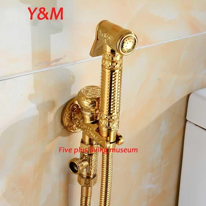 2016 NEW Cold and Hot Toilet  Gold Brass Bidet Sprayer Faucet Set Enhanced pressure Shower mixer Set high pressure toilet bidet faucet cold and hot water tap polish chrome bidet mixer ducha higienica