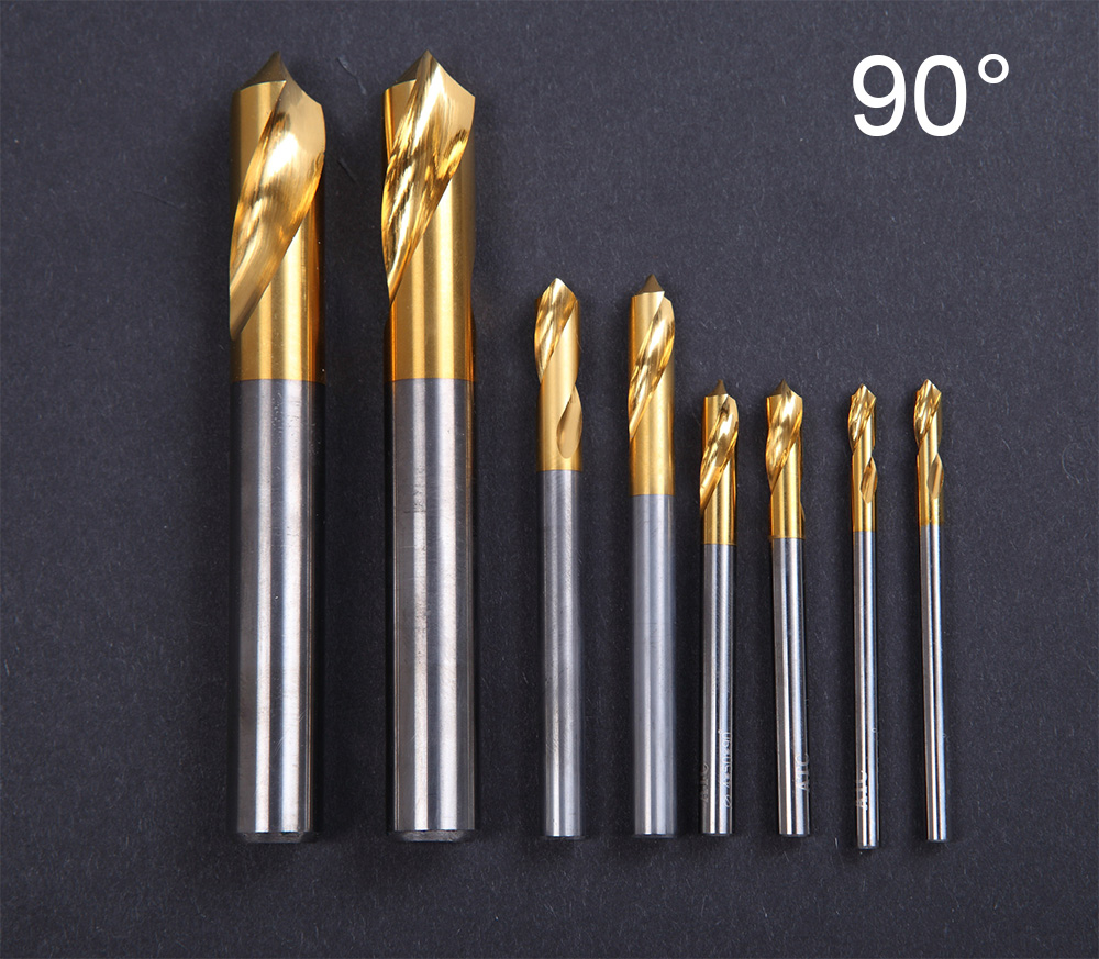 10mm 12mm 14mm 16mm 18mm 90 Degree HSS High Speed Steel Titanium Coated Chamfer Tool Lathe Countersink Center Spotting Drill Bit