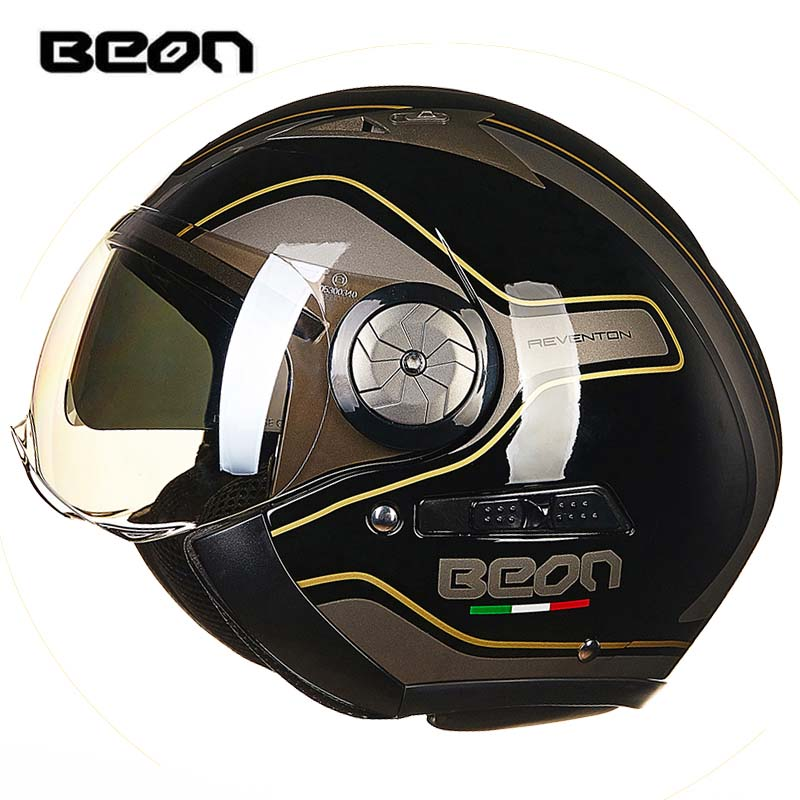 2018 3/4 BEON B216 Double visor motorcycle helmet motorbike open face scooter helmet for women men red black gold blue M L XL kids motorcycle helmet motorcycle helmet kid scooter helmet red yellow blue white gray for 3 7 years old free shipping