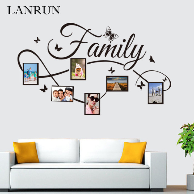 diy famille cadre photo salon chambre stickers muraux poste d cor la maison lanrun kw5071. Black Bedroom Furniture Sets. Home Design Ideas