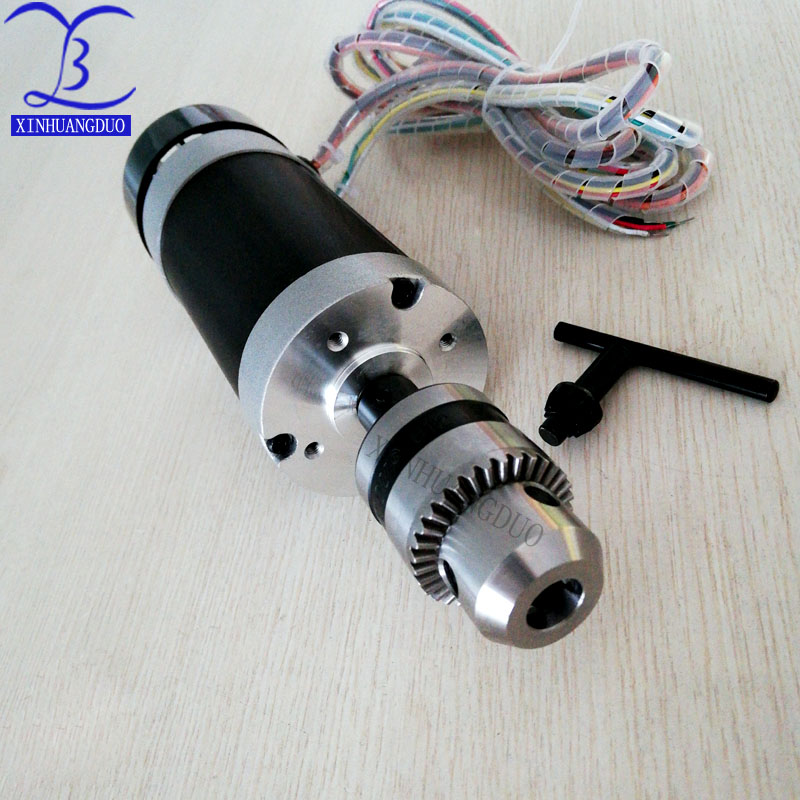500W Brushless Motor Drill chuck 48VDC CNC Engraving Milling Air Cooled Spindle + fan Long mouth tightening 1.5 10