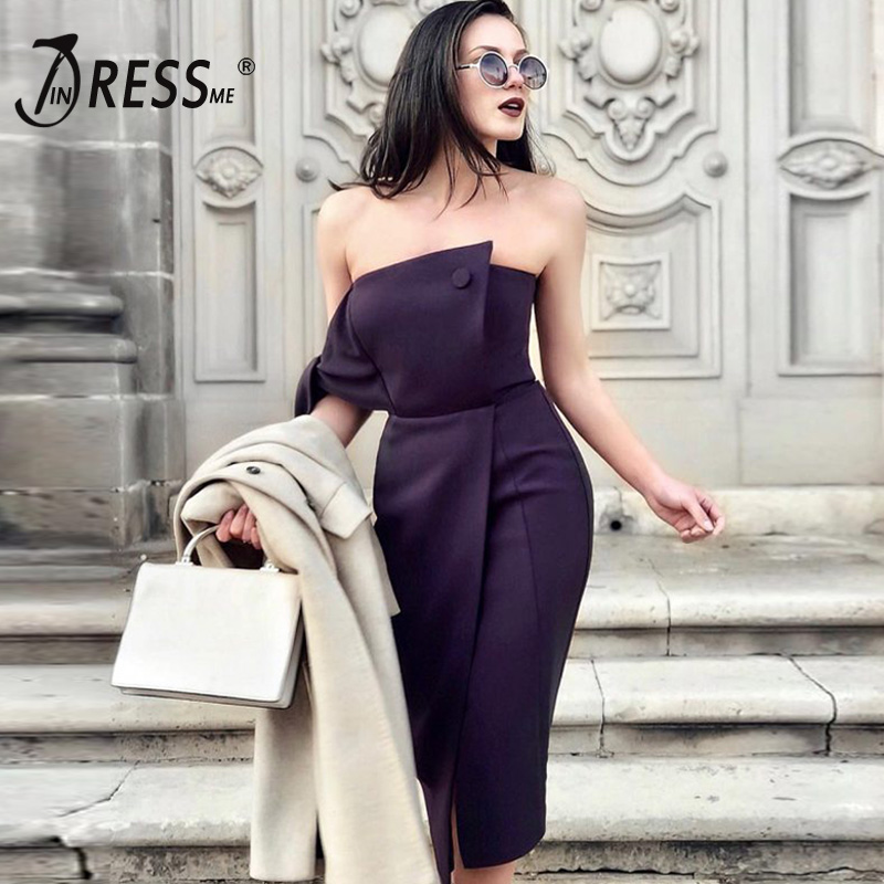 INDRESSME White Women Dress Bodycon Strapless Off shoulder Dress Sexy Club Party 2019 New Arrivals vestidos