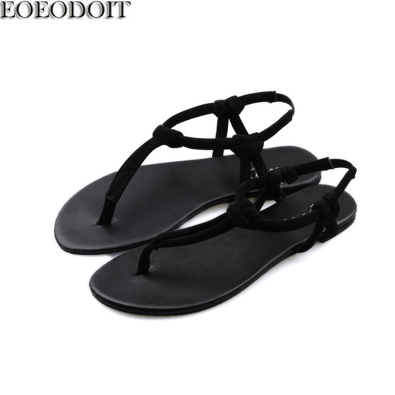 EOEODOIT Summer Sandals Flat Heel Brief Beach Sand Shoes Women Summer Casual Flats Thong Shoes