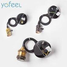 [YGFEEL] Retro Anhänger Lampe Halter E27 Vintage anhänger lichter Mit Knob Schalter Hängen Lichter Halter AC110V/220V Innen Beleuchtung