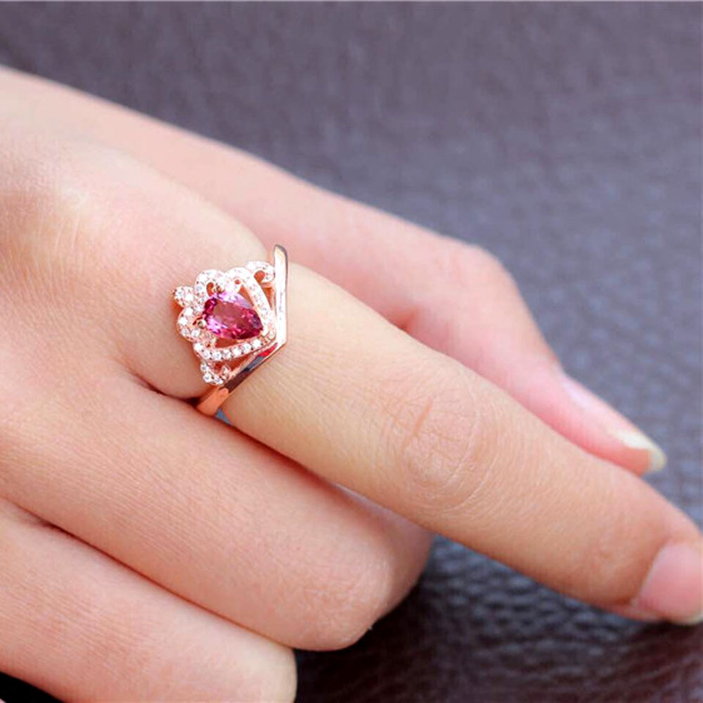 2015 new natural gem rubellite women crown ring silver crown ring ...